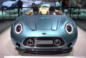 Hood and grille of the MINI Superlegerra Vision Concept at the 2014 LA Auto Show